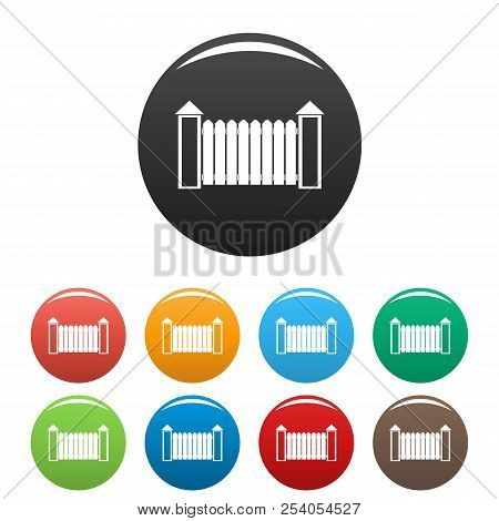 Fence with turret icon. Simple illustration of fence with turret icons set color isolated on white poster