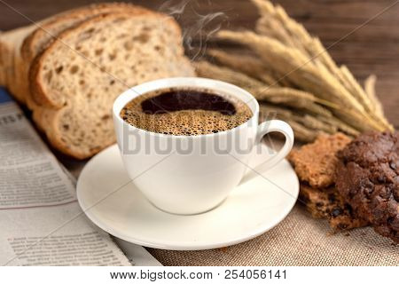 Hot Coffee Cup And Breakfast