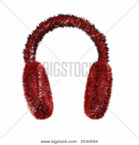 Render Of Red Furry Winter Earmuffs On A White Background