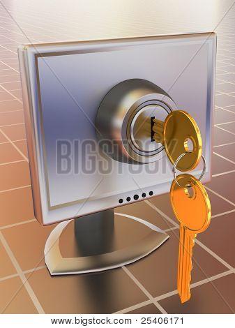 Monitors with keys. 3d