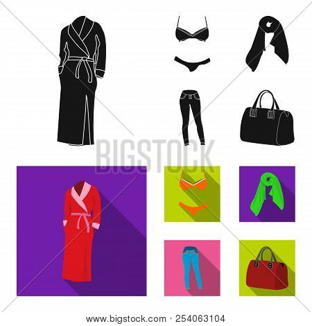 Bra With Shorts, A Women Scarf, Leggings, A Bag With Handles. Women's Clothing Set Collection Icons