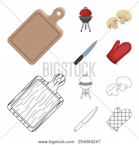 Barbeque Grill, Champignons, Knife, Barbecue Mitten.bbq Set Collection Icons In Cartoon, Outline Sty