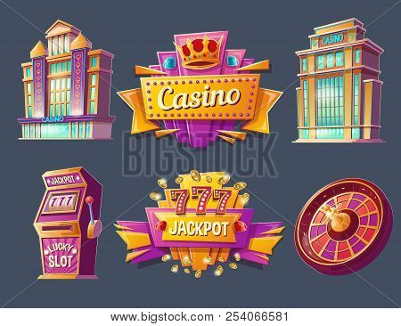 Casino Buildings, Signboards, Gaming Machine And Game Roulette, Set Of Cartoon Badges, Stickers, Tag