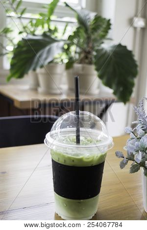 Iced Milk Green Tea Drink, Stock Photo