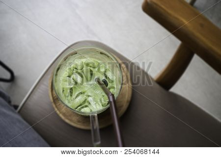Iced Green Tea Latte On Top View, Stock Photo