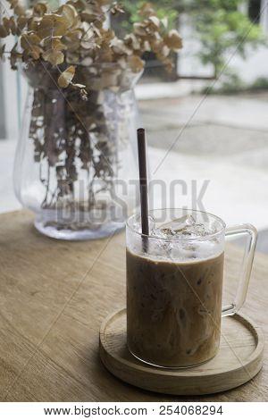 Iced Milk Mocha On Wooden Table, Stock Photo