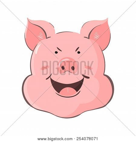 Portrait Of A Pig. Piglet Head With Emotion Cunning. Cute Piggy Sly