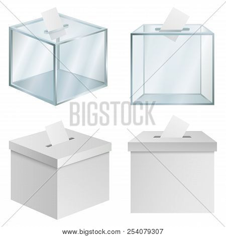 Ballot Voting Box Democracy Mockup Set. Realistic Illustration Of 4 Ballot Voting Box Democracy Mock