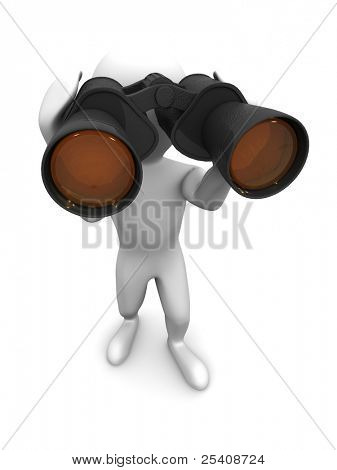 Men with binoculars. 3d
