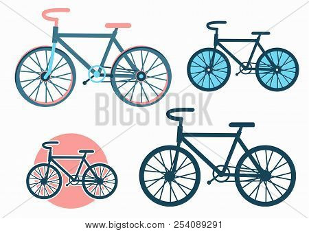 Bike Icons.vector Set Of Bicycles Isolated On White