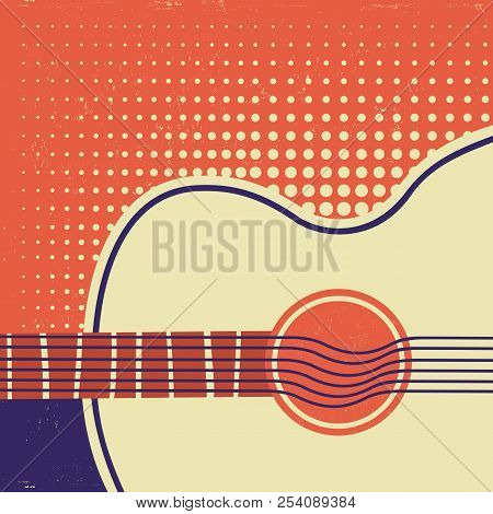 Acoustic Guitar On Old Paper. Retro Poster Background