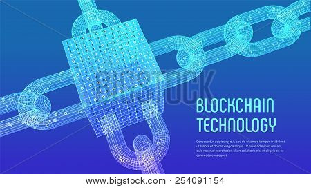 Block Chain. Crypto Currency. Blockchain Concept. 3d Wireframe Chain And Isometric Digital Block Wit