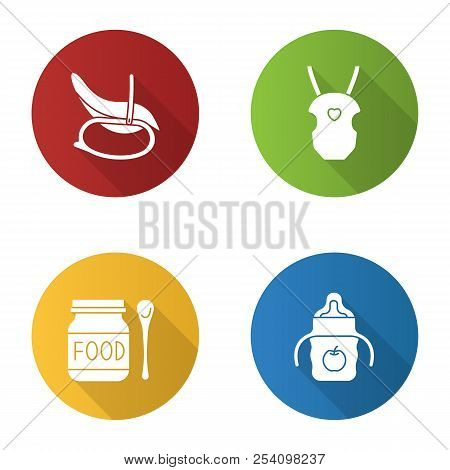Childcare flat design long shadow glyph icons set. Rocking chair, baby carrier, food, sippy cup. Vector silhouette illustration poster