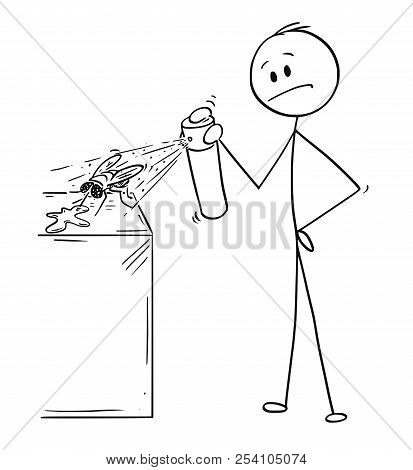 Cartoon Stick Drawing Conceptual Illustration Of Man Hitting And Killing A Fly Insecticide Chemical
