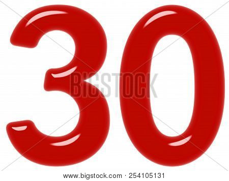 Numeral 30, Thirty, Isolated On White Background, 3d Render