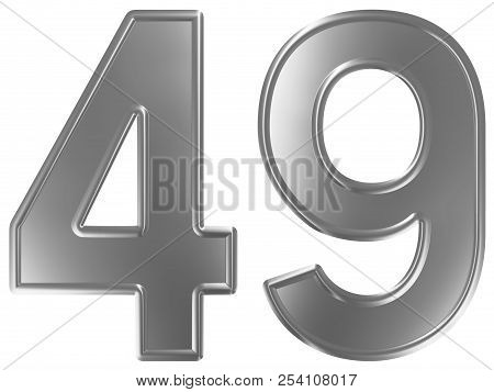 Numeral 49, Forty Nine, Isolated On White Background, 3d Render