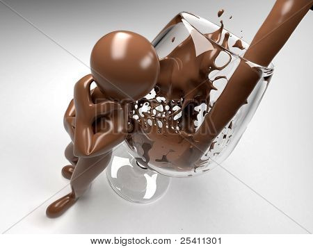 Men and glass with chocolate. 3d