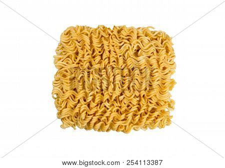 Yellow Instant Noodles On A White Background