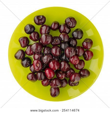 Cherry Isolated On White Background. Cherry On A Plate. Healthy Food .