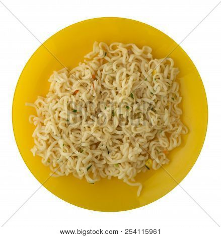 Vermicelli On A Plate Isolated On White Background.
