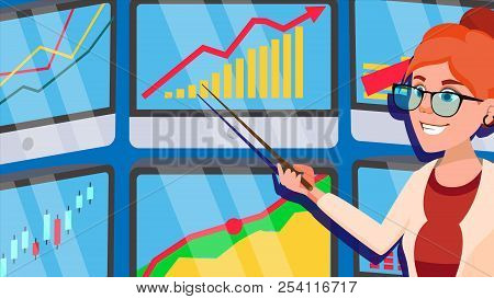 Broker Female Vector. Stock-market Broker. Charts, Data Analyses. Trading Stocks Online. Computer Sc
