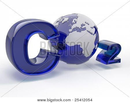 CO2. Formula on white isolated background. 3d