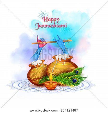 Lord Krishna Playing Bansuri Flute In Happy Janmashtami Festival Background Of India