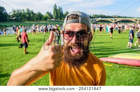 Highly Recommend Top List. Hipster Visiting Event Picnic Fest Or Festival. Man Bearded In Front Of C
