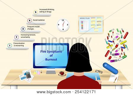 Overworked Woman Is Sitting In Her Office In Overtime. The Colorful Pills Are Falling On Her Office