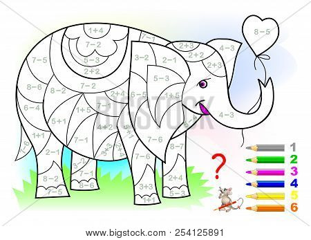 Educational Page With Exercises For Children On Addition And Subtraction. Need To Solve Examples And