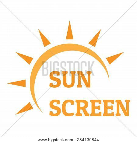 Sun Screen Logo. Flat Illustration Of Sun Screen Logo For Web Design