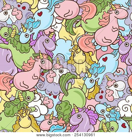Magic Unicorn With Rainbow Horn And Flying Hearts With Wings Seamless Pink Pattern. Modern Fairytale