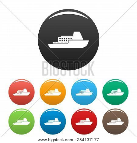 Ship Cruise Icon. Simple Illustration Of Ship Cruise Icons Set Color Isolated On White