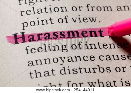 Fake Dictionary, Dictionary Definition Of The Word Harassment. Including Key Descriptive Words.