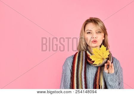 Autumn. Sensual Woman With Maple Leaf. Woman With Autumn Leaf. Yellow Maple Leaf. Sexy Woman In Warm