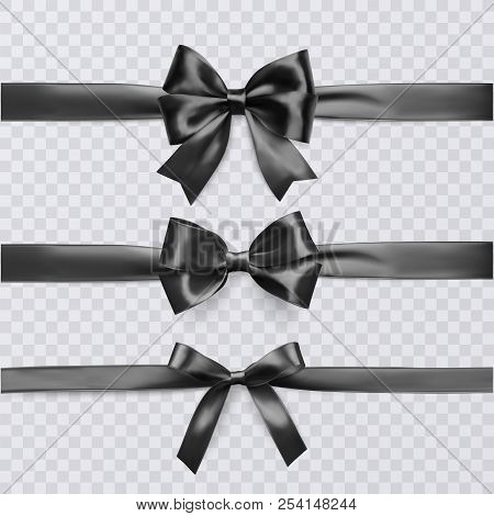 Set Of Decorative Black Bows With Horizontal Ribbon Isolated On Transparent Background, Bow And Ribb