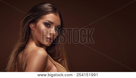 Beauty Portrait Of Sensual Brunette Girl.
