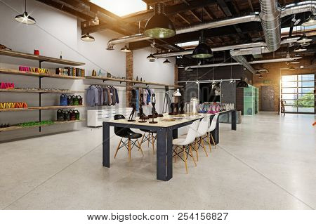 modern boutique interior loft design. 3d rendering