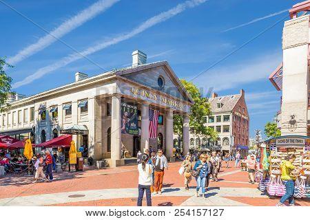 Boston, Massachusetts - September 18, 2014: Quincy Market Is An Historic Marketplace Near Faneuil Ha