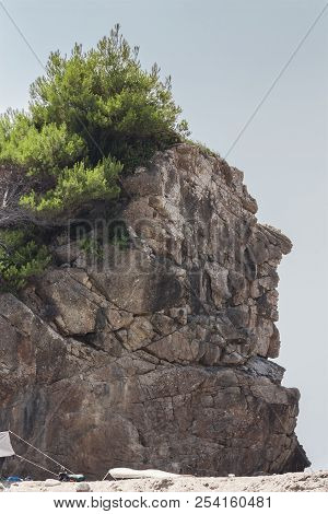 Rock On The Island Of Corfu Portraying The Figure Of An Indian Chief To Mean A Figurative Concept...