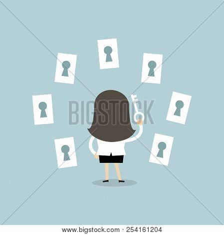 Businesswoman Choosing The Right Keyhole Cartoon. Vector