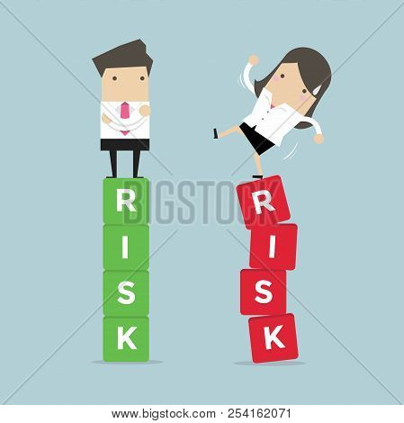 Business Risk Management Of Difference Business People Between A Success And Failure. Vector