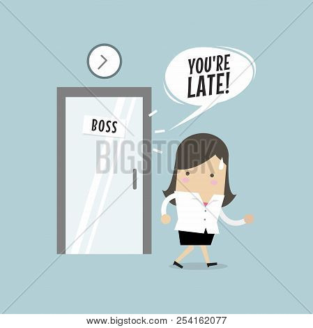 Businesswoman Working Late. Walking Through The Boss Room And Was Warned By Boss. Vector
