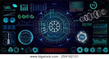 Futuristic concept HUD, GUI style. Screen ( Dashboard, Futuristic Circle, Space Elements, Infographics) Vector Elements Set for HUD Sci Fi Interfaces. Hi tech future design. Sky fi for VR and App. poster