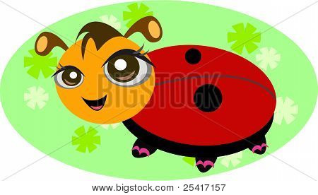 Ladybug with Flower Background