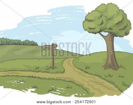Crossroad Pathway Graphic Color Tree Landscape Sketch Illustration Vector