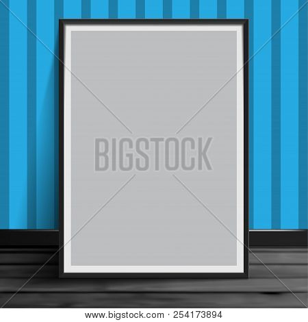 Stock Vector Illustration Mockup Mock Up Realistic Picture Template Photoframes. Blank Paper Gray. A