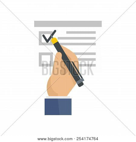 Vote Sign On Paper Icon. Flat Illustration Of Vote Sign On Paper Icon For Web Isolated On White