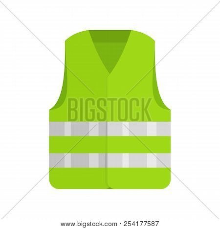 Driver Reflective Vest Icon. Flat Illustration Of Driver Reflective Vest Icon For Web Isolated On Wh