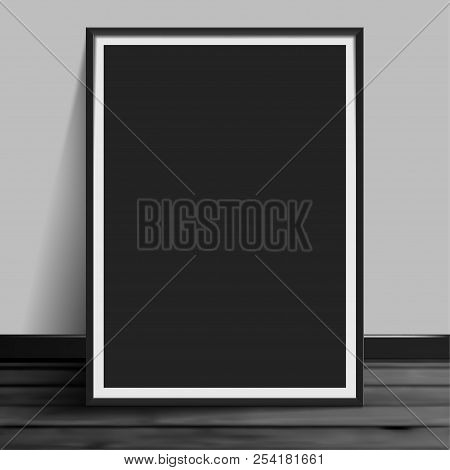 Stock Vector Illustration Mockup Mock Up Realistic Picture Template Photoframes. Blank Paper Black.